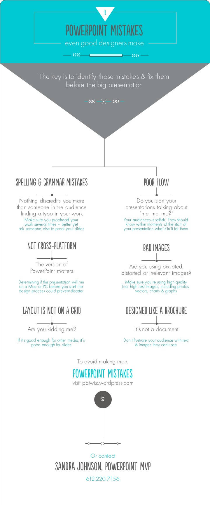 Even great designers make mistakes when creating PowerPoint slides. The key is to avoid these before the big presentation. Click the image to download a PDF of PowerPoint Mistakes.