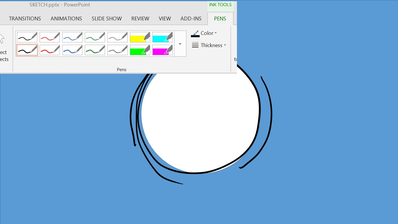 """Step 7: Using the stylus on a Surface Pro running PowerPoint 2013, touch the slide area to expose the Ink Tools Tab in the Ribbon. Choose desired pen color and thickness (we've used black at 1 pt). Draw a circle just outside the """"hole"""" area. We've also included some extra lines for motion."""