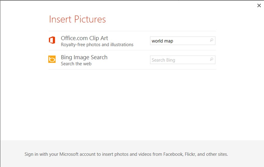 Step 8: Go to Insert > Online Pictures, then type World Map in the Search blank.